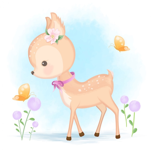 Baby deer and butterfly hand drawn animal cartoon illustration Premium Vector