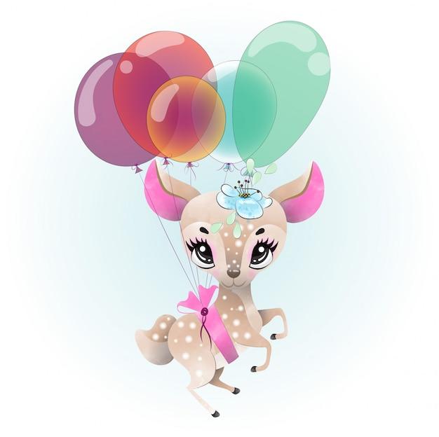 Baby deer cute character painted with watercolor Premium Vector