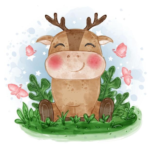 Illustrazione carino cervo bambino sedersi sull'erba con farfalla Vettore gratuito