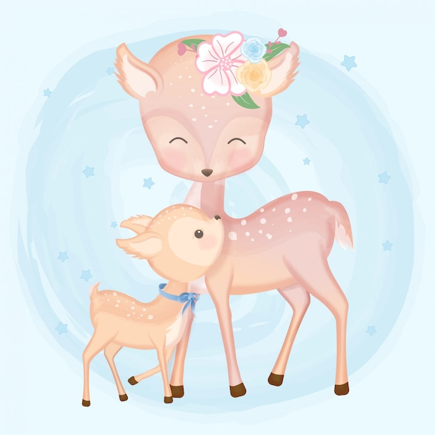 Baby deer and mother hand drawn animal Premium Vector