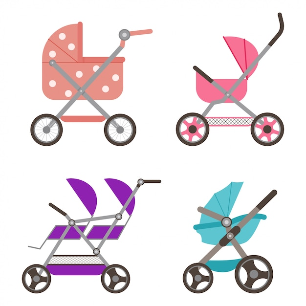 Baby doll stroller set Premium Vector