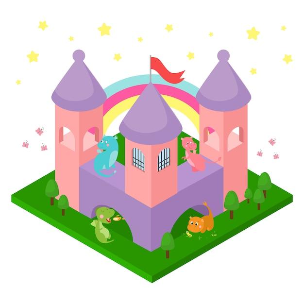 Драконы младенца в изолированной изометрической иллюстрации замка. Premium векторы