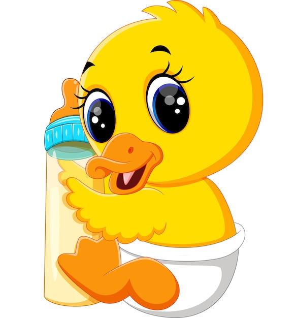 Baby duck holding milk bottle Premium Vector