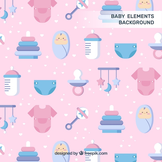 Baby elements background in flat style Free Vector