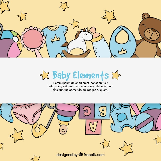 Baby elements background in hand drawn\ style