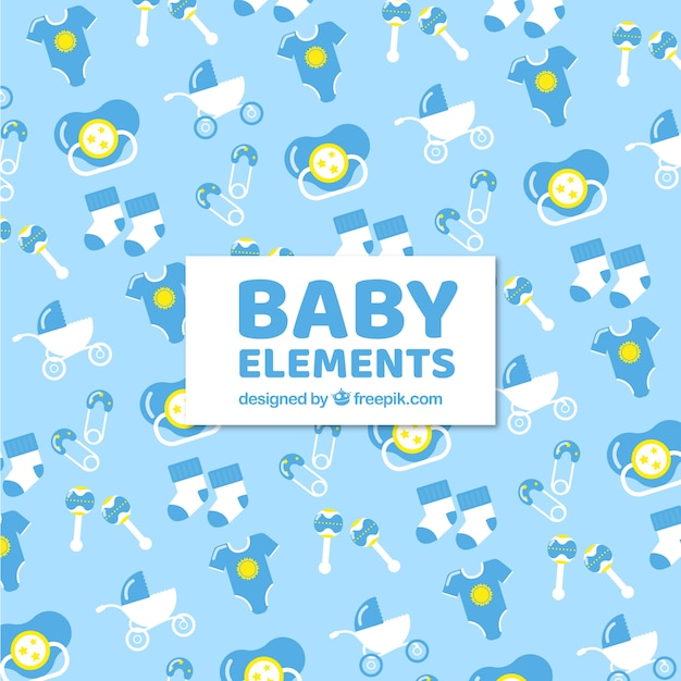 Baby elements background with cute toys and\ clothes