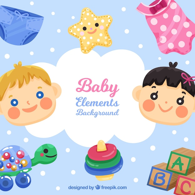 Baby elements background with cute toys and clothes   Free ...