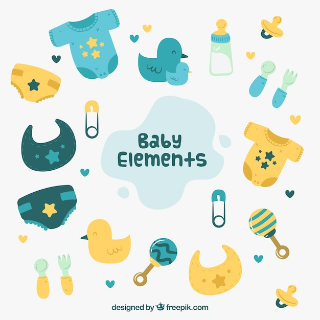 Baby elements background with cute toys and clothes Vector ...