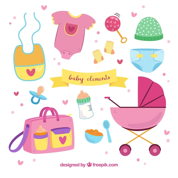 Baby elements collection in hand drawn style Free Vector