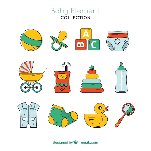 Baby elements collection in flat style