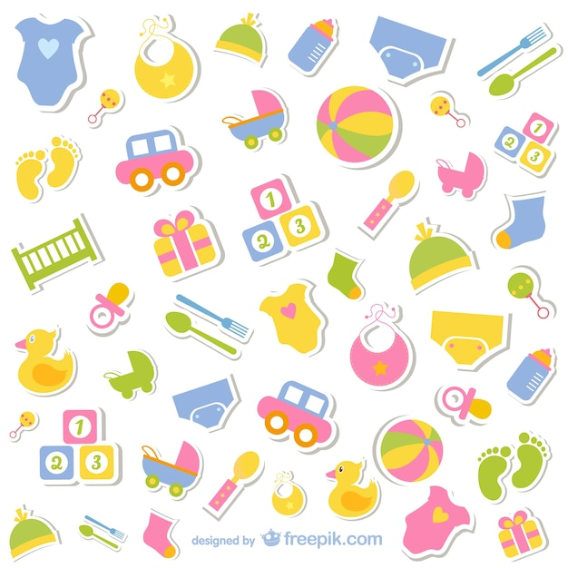 Baby elements icons Free Vector
