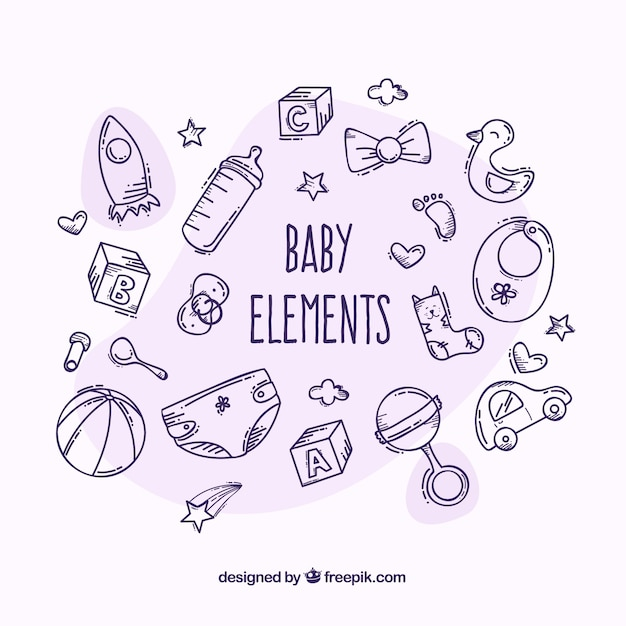Baby elements set in hand drawn style Free Vector