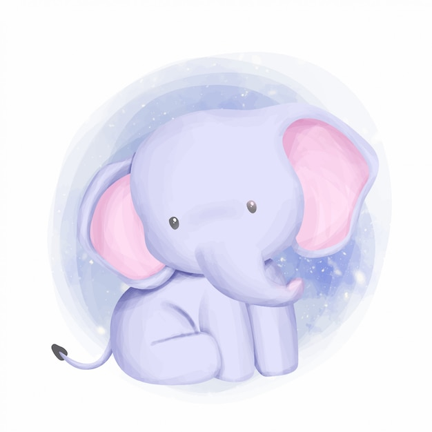 Baby elephant adorable and curious Premium Vector