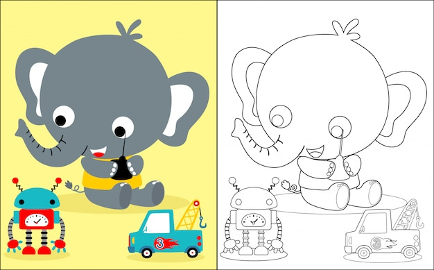Baby elephant cartoon with toys Premium Vector