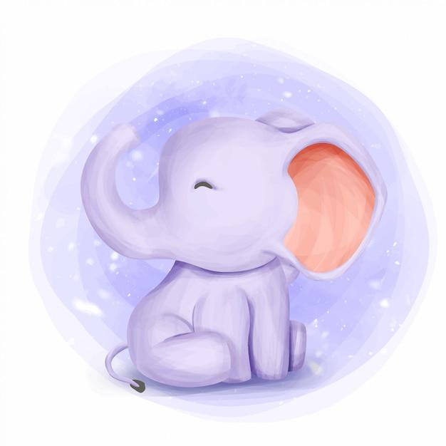 Baby elephant cute animal watercolor Premium Vector