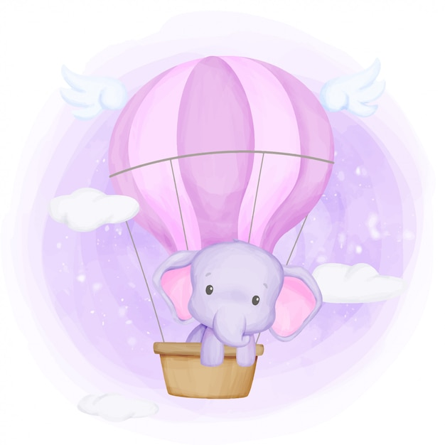 Baby elephant fly up to the sky Premium Vector
