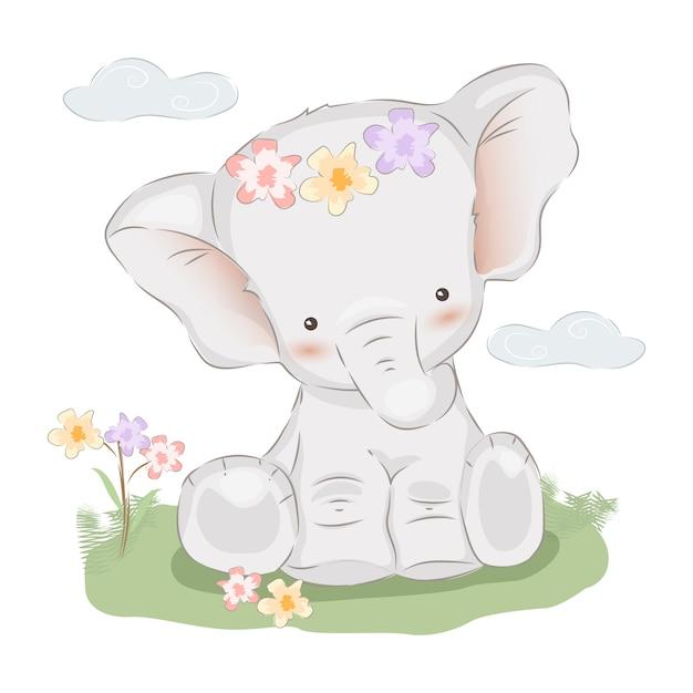 Baby elephant illustration Premium Vector