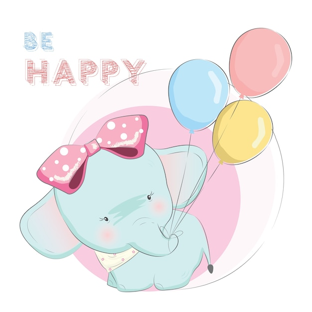 Baby elephant is pulling the balloons Premium Vector