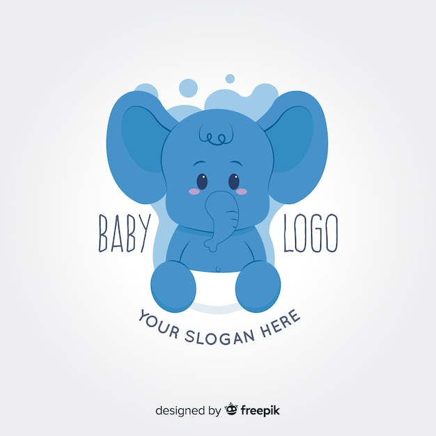 Baby elephant logo Free Vector