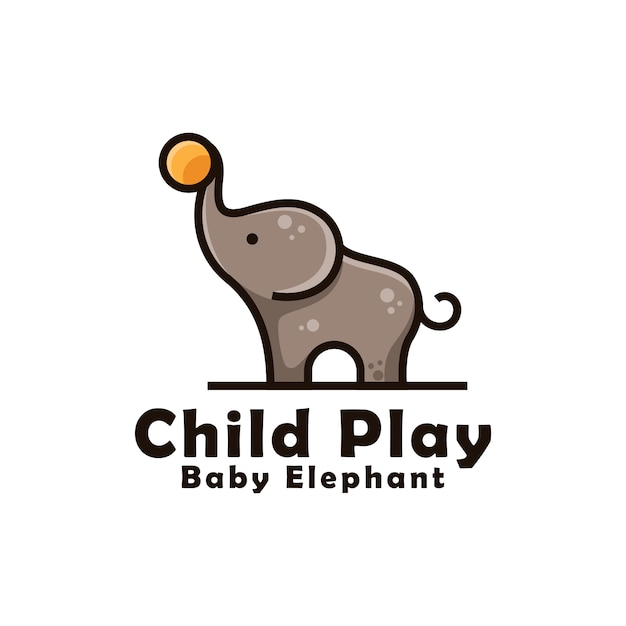 Baby elephant playing ball for children logo design. cute baby elephant mascot logo   template Premium Vector
