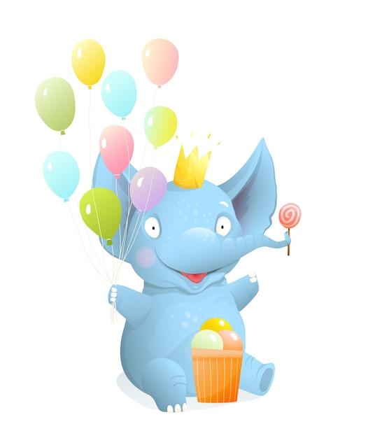 風船とアイスクリームで座って笑っている象の赤ちゃん、子供たちの孤立したクリップアート、ベクトルの現実的な3d漫画。グリーティングカードや子供向けイベント、誕生日象のキャラクターイラストデザイン。 Premiumベクター