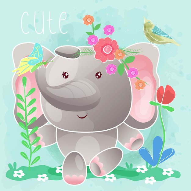 Baby elephant sitting in the grass. vector Premium Vector