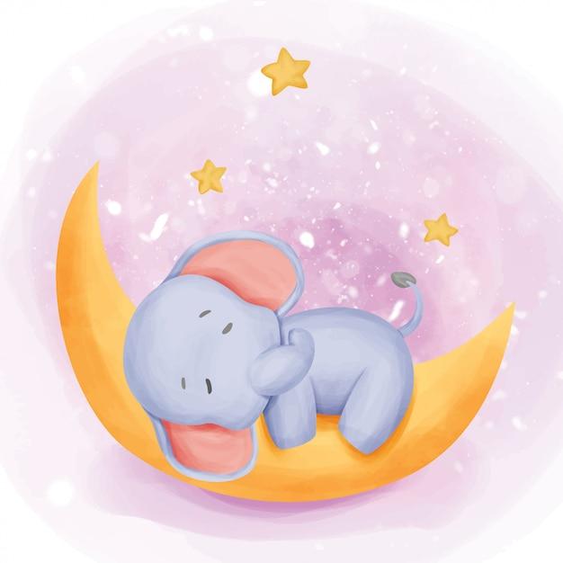 Baby elephant sleep on the moon Premium Vector
