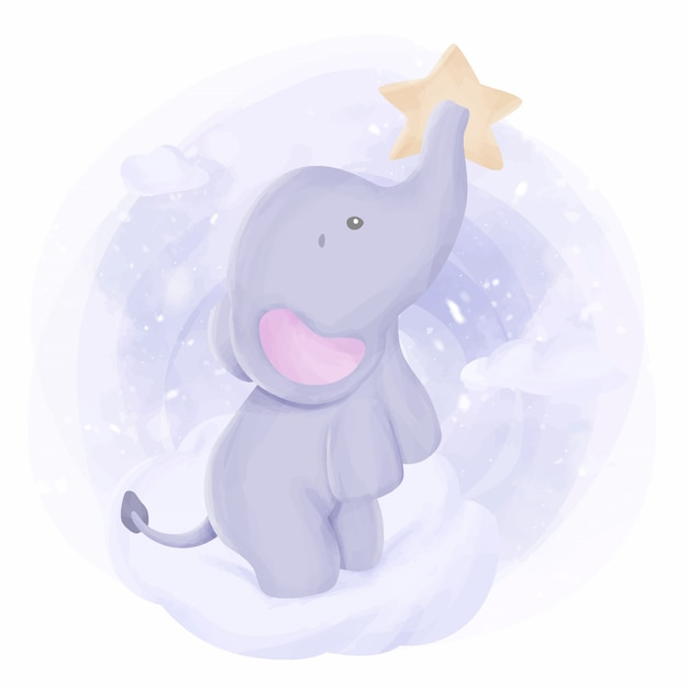 Baby elephant stand on cloud Premium Vector