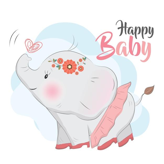 Baby elephant wearing high heels Premium Vector