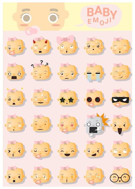 Baby emoji icons Premium Vector
