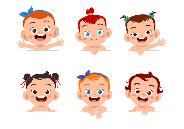 Baby face expression set Premium Vector