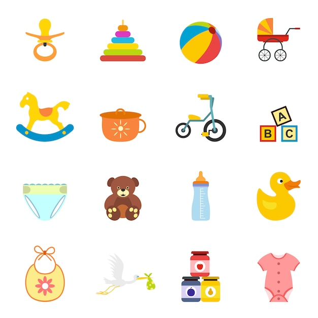Baby flat elements set for web and mobile devices Premium Vector