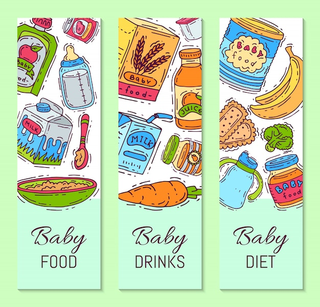 Baby food formula puree vector illustration. nutrition for kids. babies bottles and feeding. first meal product templates for vertical flyers Premium Vector