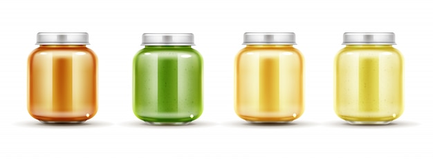 Baby food jars set Free Vector