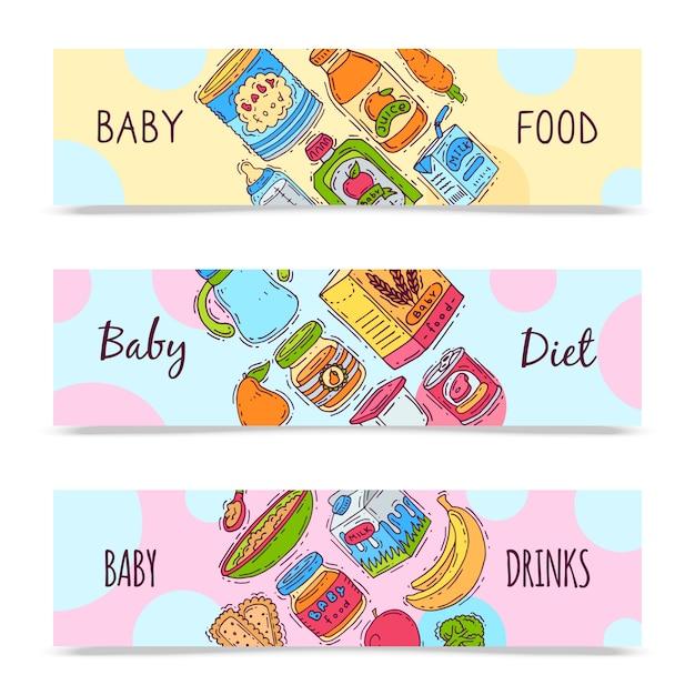 Детские формулы пищи пюре векторные иллюстрации. дополнительное питание и питание для детей. детские бутылочки, банки и овощи. шаблоны первых продуктов питания для флаеров Premium векторы
