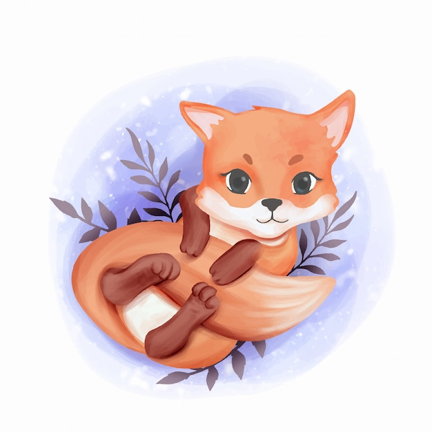 Baby fox adorable play with its tail Premium Vector