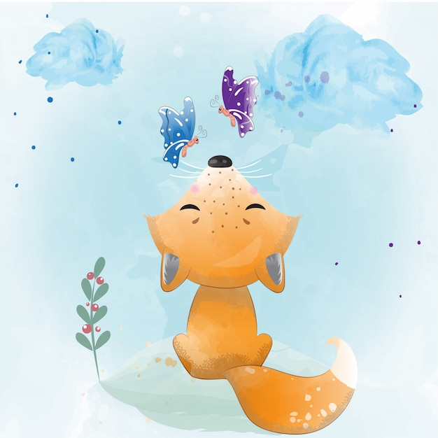 Baby fox painted with watercolor Premium Vector