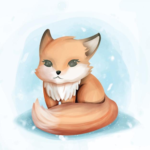 Baby fox sit cute watercolor illustration Premium Vector