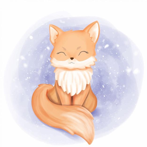 Baby fox smile portrait Premium Vector