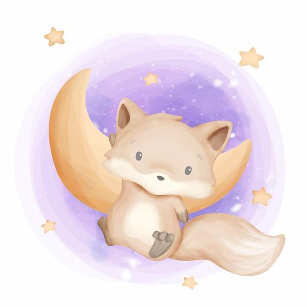 Baby foxy landing on the moon Premium Vector