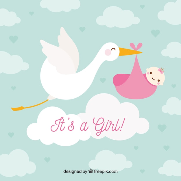 Baby girl background in flat style Premium Vector