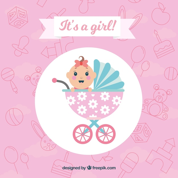 Baby girl background in flat style Free Vector