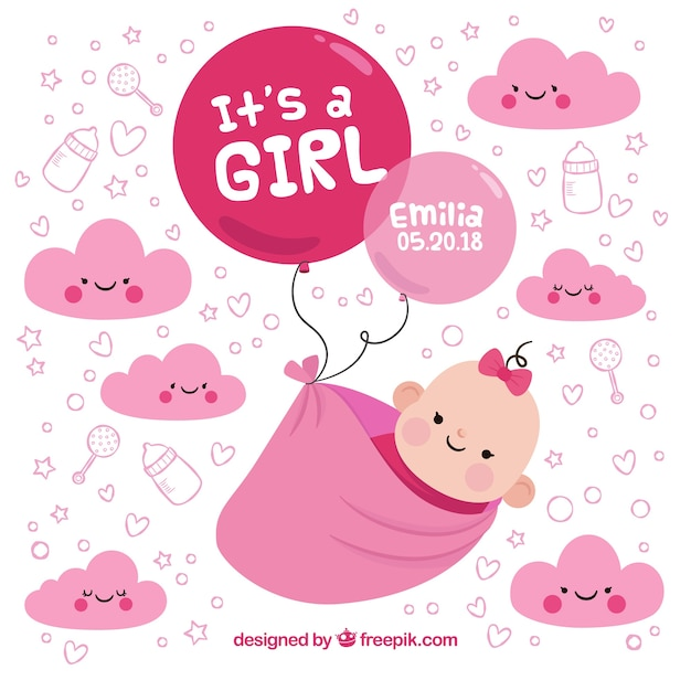 Baby girl background in hand drawn style Free Vector