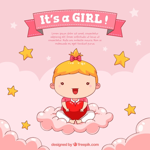 baby girl background in hand drawn style vector free baby announcement clipart free News Announcement Clip Art