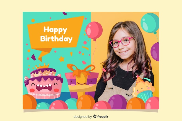 Baby Girl Birthday Party Invitation Card Vector Free Download