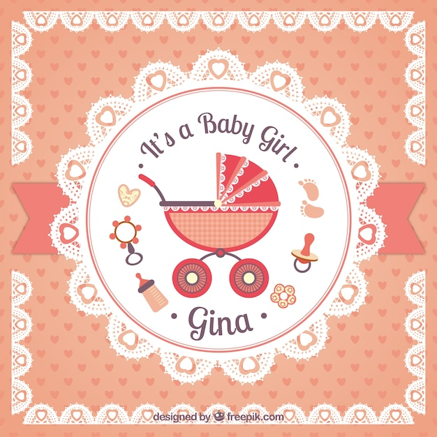 Baby girl card in doily style Free Vector
