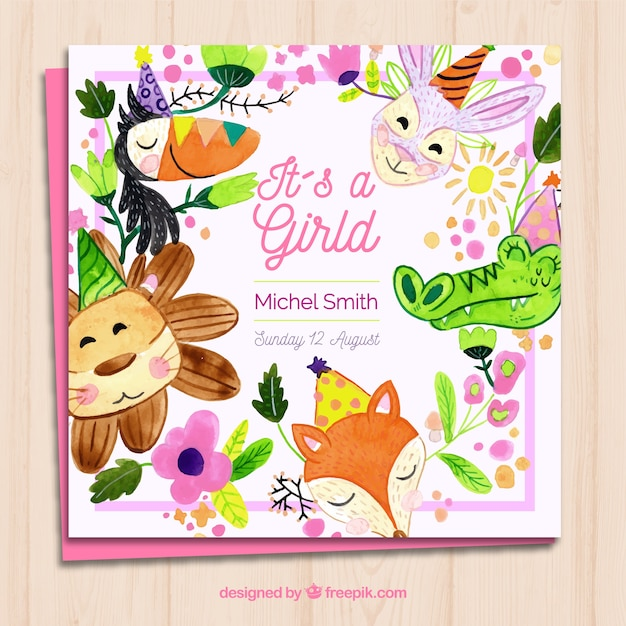 Baby girl card invitation with cute animals in\ watercolor style