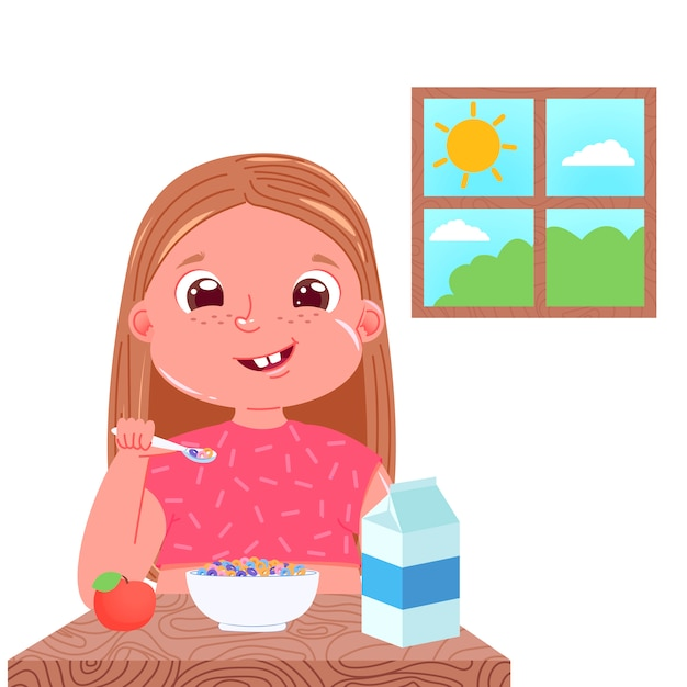 A baby girl eats breakfast in the morning. sweet dish colourful corn flakes with milk. Free Vector