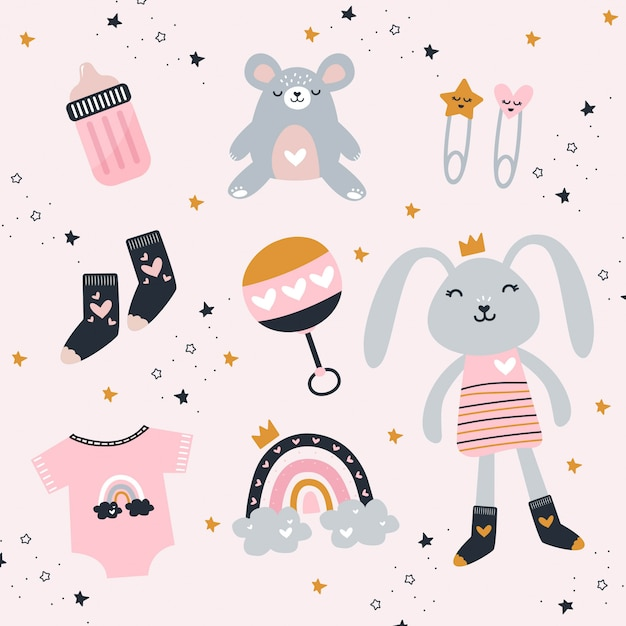 Baby girl elements with cute toys and clothes Premium Vector