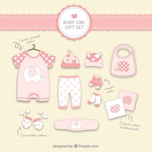 Baby Gift Vector : Baby girl gift set vector free download